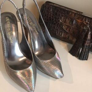 Silver Guess by Marciano platform heels